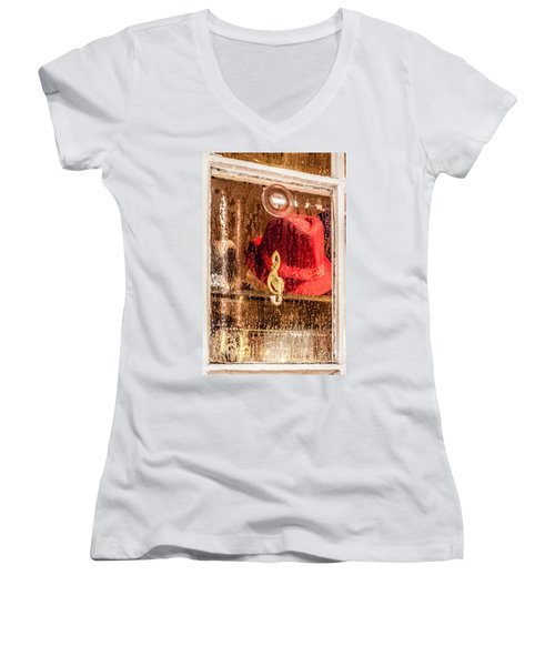 Clef And Hat Women's V-Neck (Athletic Fit)