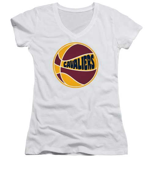 Cleveland Cavaliers Retro Shirt Women's V-Neck T-Shirt (Junior Cut) by Joe Hamilton