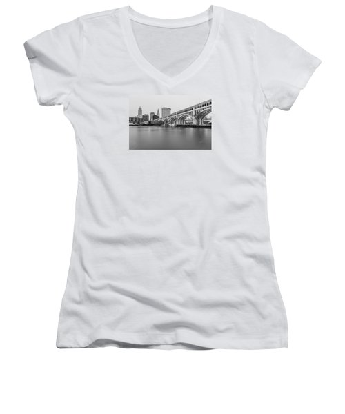 Cleveland Skyline In Black And White  Women's V-Neck T-Shirt (Junior Cut) by John McGraw