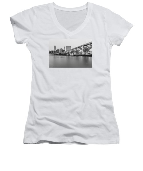 Cleveland Skyline In Black And White  Women's V-Neck