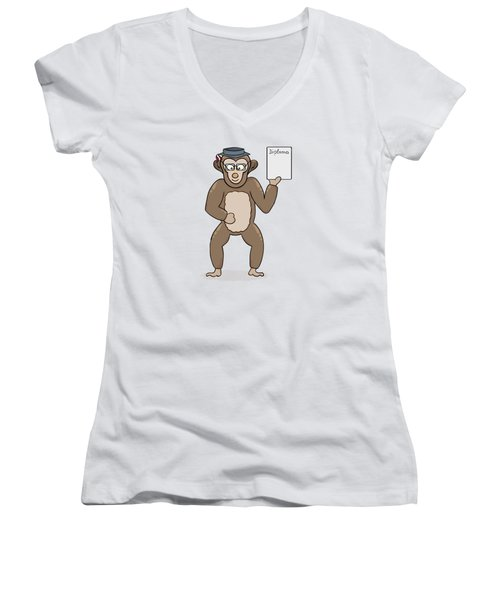 Clever Monkey With Diploma Women's V-Neck T-Shirt