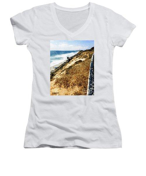Cliff View - Carlsbad Ponto Beach Women's V-Neck
