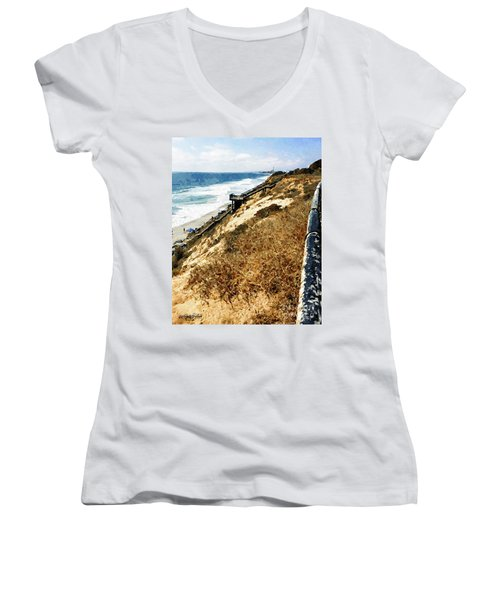 Cliff View - Carlsbad Ponto Beach Women's V-Neck T-Shirt