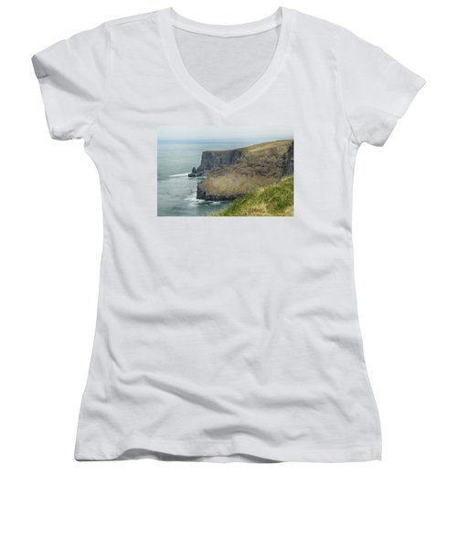 Women's V-Neck T-Shirt (Junior Cut) featuring the photograph Cliffs Of Moher 1 by Marie Leslie