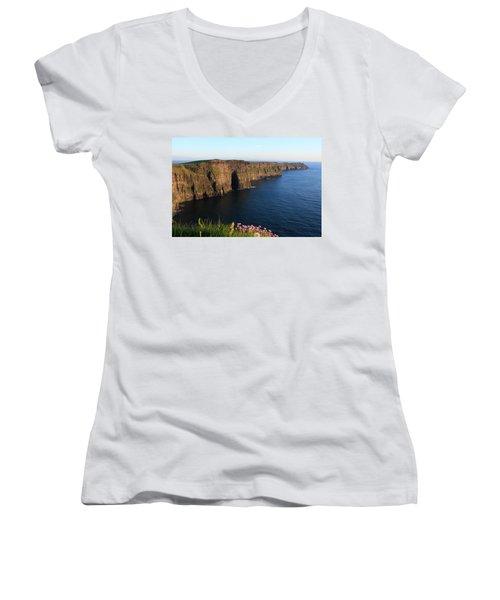 Cliffs Of Moher In Evening Light Women's V-Neck T-Shirt (Junior Cut) by Aidan Moran