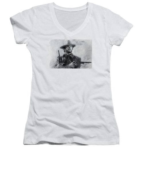 Women's V-Neck T-Shirt (Junior Cut) featuring the drawing Clint Eastwood by Viola El
