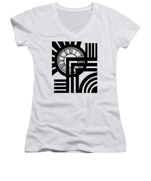 Clock Design Vertical Women's V-Neck