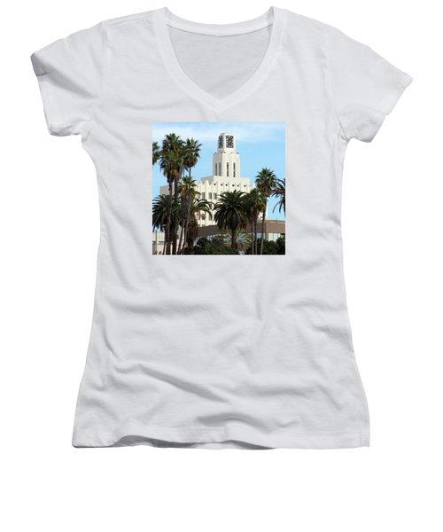 Clock Tower Building, Santa Monica Women's V-Neck