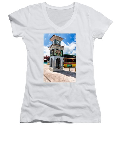 Women's V-Neck T-Shirt (Junior Cut) featuring the photograph Clock Tower by Lawrence Burry