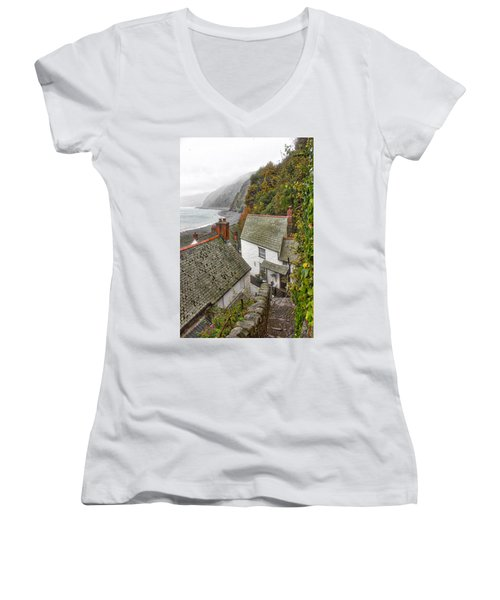 Clovelly Coastline Women's V-Neck T-Shirt (Junior Cut) by RKAB Works
