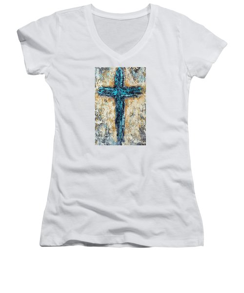 Clothe Yourself In Mercy Women's V-Neck T-Shirt (Junior Cut) by Kirsten Reed