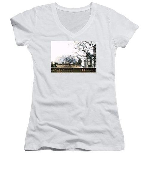 Cloud Gate - 1 Women's V-Neck T-Shirt (Junior Cut) by Ely Arsha
