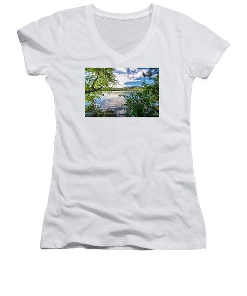 Women's V-Neck featuring the photograph Cloud Swirl Mt. Chocorua Nh by Michael Hubley