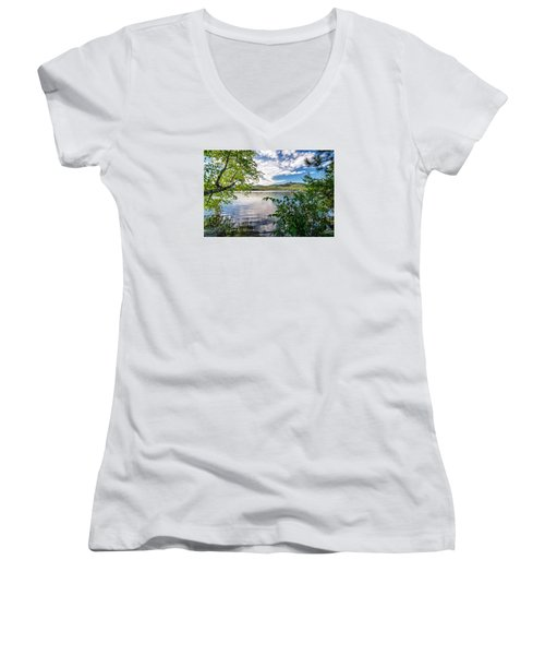 Cloud Swirl Mt. Chocorua Nh Women's V-Neck (Athletic Fit)