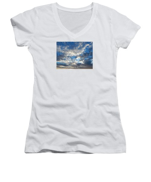 Clouds #4049 Women's V-Neck T-Shirt (Junior Cut) by Barbara Tristan