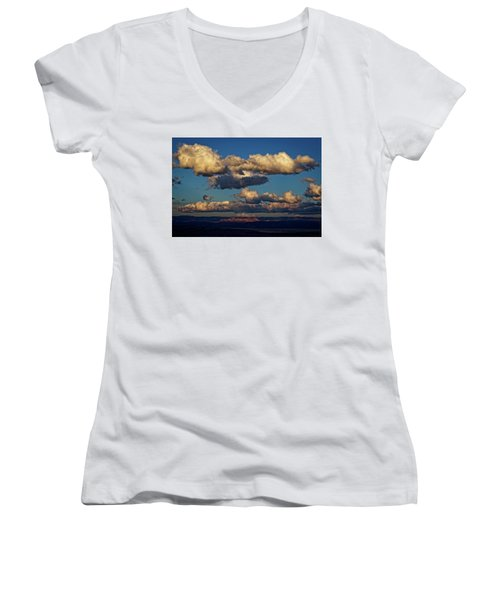 Clouds And Red Rocks Hdr Women's V-Neck