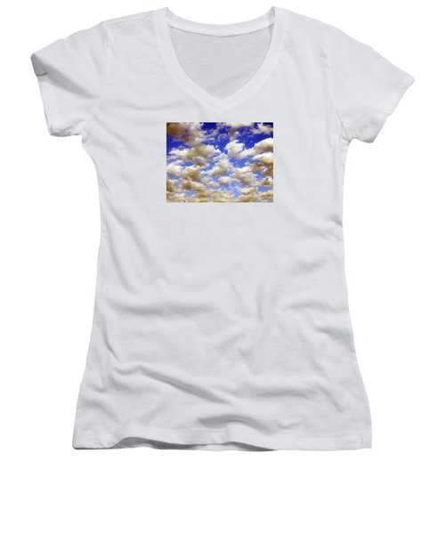 Clouds Blue Sky Women's V-Neck (Athletic Fit)