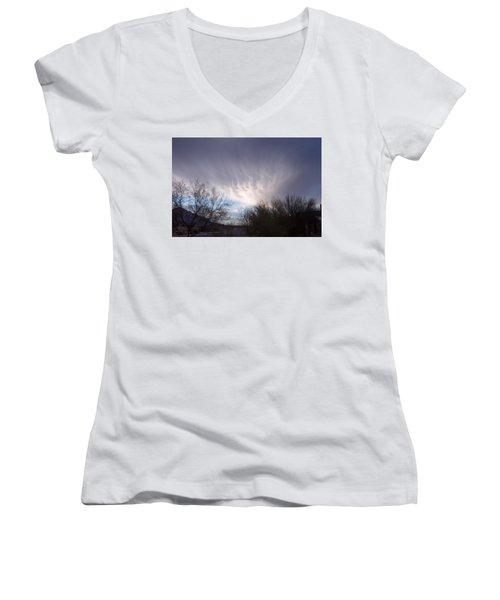 Clouds In Desert Women's V-Neck T-Shirt (Junior Cut) by Mordecai Colodner