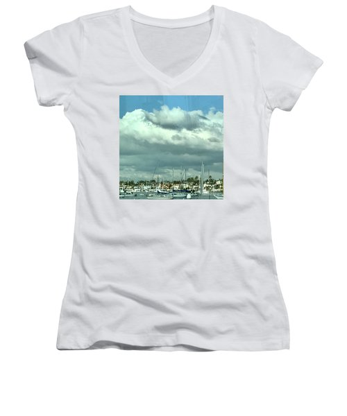 Women's V-Neck T-Shirt (Junior Cut) featuring the photograph Clouds On The Bay by Kim Nelson