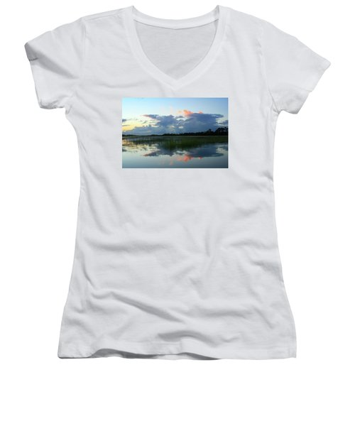 Women's V-Neck T-Shirt (Junior Cut) featuring the photograph Clouds Over Marsh by Patricia Schaefer