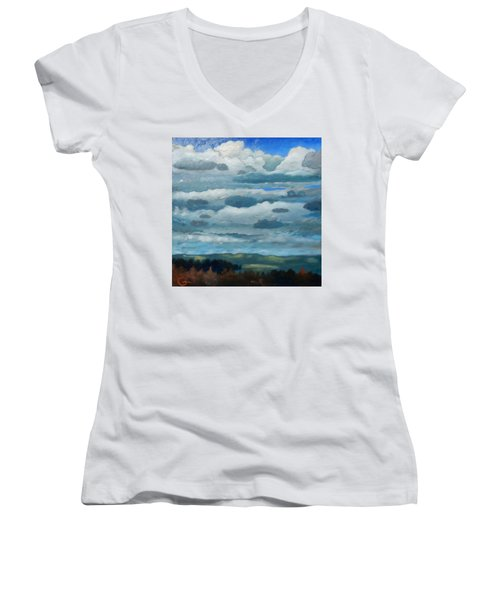 Women's V-Neck T-Shirt (Junior Cut) featuring the painting Clouds Over South Bay by Gary Coleman
