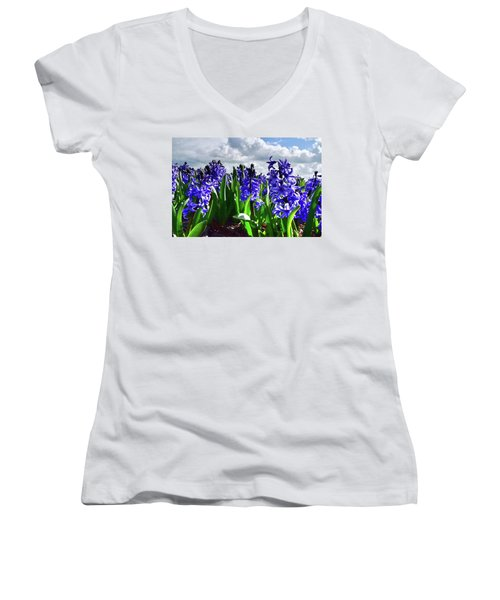 Clouds Over The Purple Hyacinth Field Women's V-Neck T-Shirt
