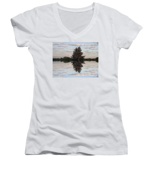 Women's V-Neck T-Shirt (Junior Cut) featuring the photograph Clouds Up And Down by Christina Verdgeline