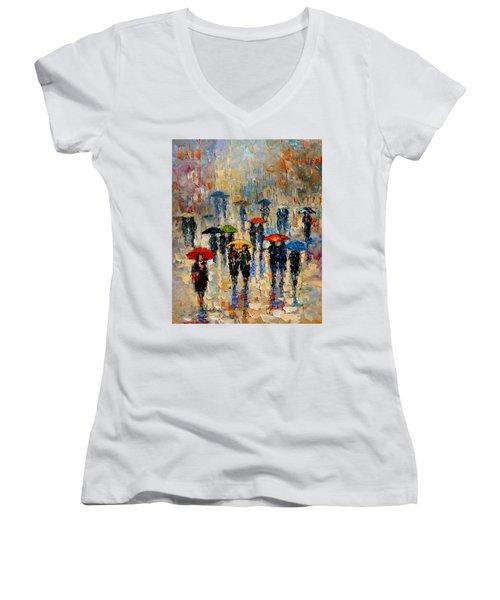 Cloudy Day Women's V-Neck T-Shirt (Junior Cut)