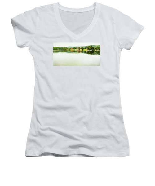 Cloudy Day On The Lake Women's V-Neck