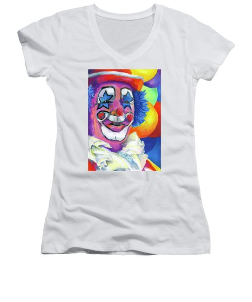 Clown With Balloons Women's V-Neck (Athletic Fit)