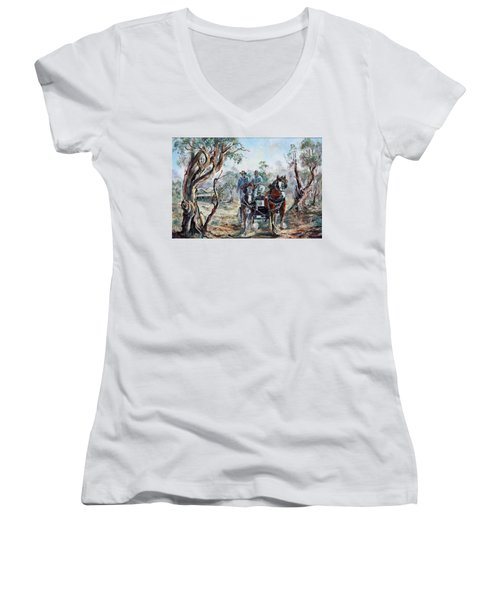 Clydesdales And Cart Women's V-Neck