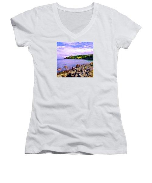 Rocky Coast At Howth Women's V-Neck T-Shirt (Junior Cut) by Judi Bagwell