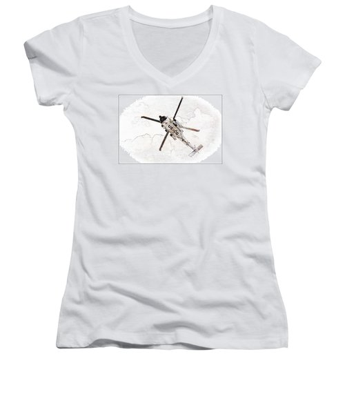 Coast Guard Helicopter Women's V-Neck T-Shirt (Junior Cut) by Aaron Berg