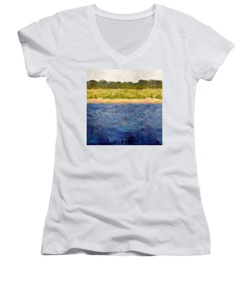 Women's V-Neck T-Shirt featuring the painting Coastal Dunes - Square by Michelle Calkins