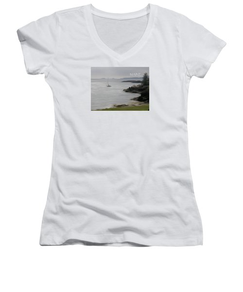 Coastal Maine Women's V-Neck T-Shirt (Junior Cut) by Jewels Blake Hamrick