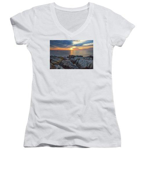 Coastal Sunrise On The Cliffs Women's V-Neck