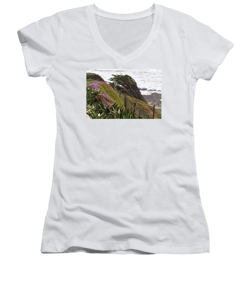 Coastal Windblown Trees Women's V-Neck (Athletic Fit)