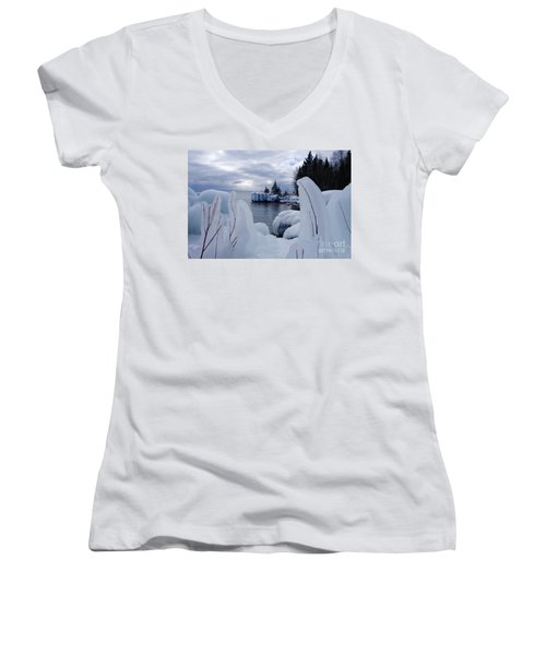 Coated With Ice Women's V-Neck T-Shirt (Junior Cut) by Sandra Updyke