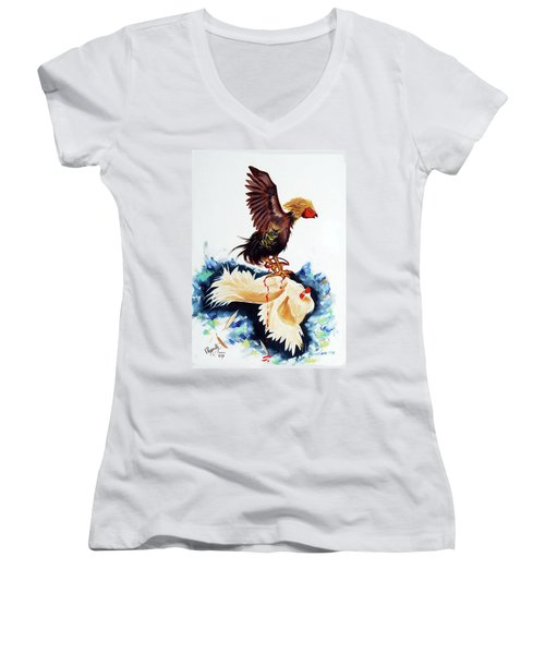 Cock Fighting Women's V-Neck T-Shirt