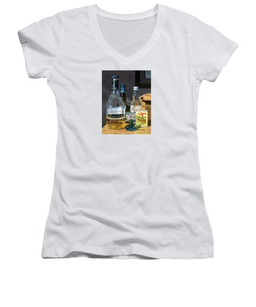 Women's V-Neck T-Shirt (Junior Cut) featuring the painting Cocktails And Mustard by Lynne Reichhart