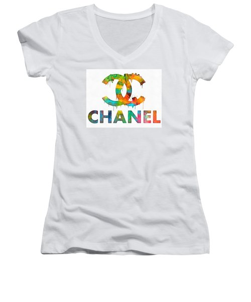 Women's V-Neck featuring the painting Coco Chanel Paint Splatter Color by Dan Sproul