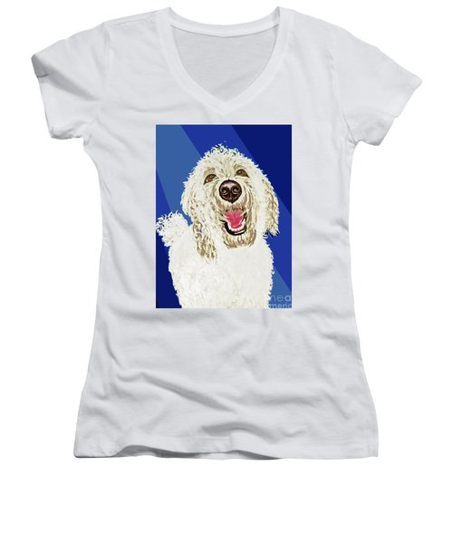 Women's V-Neck T-Shirt (Junior Cut) featuring the painting Coco Digitized by Ania M Milo