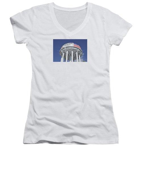 Women's V-Neck T-Shirt (Junior Cut) featuring the photograph Cocoa Florida Water Tower by Bradford Martin