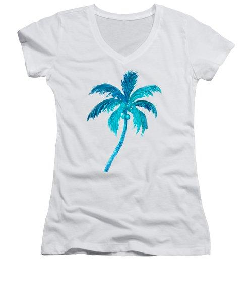 Coconut Palm Tree Women's V-Neck T-Shirt (Junior Cut) by Jan Matson