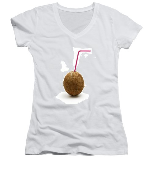 Coconut With A Straw Women's V-Neck