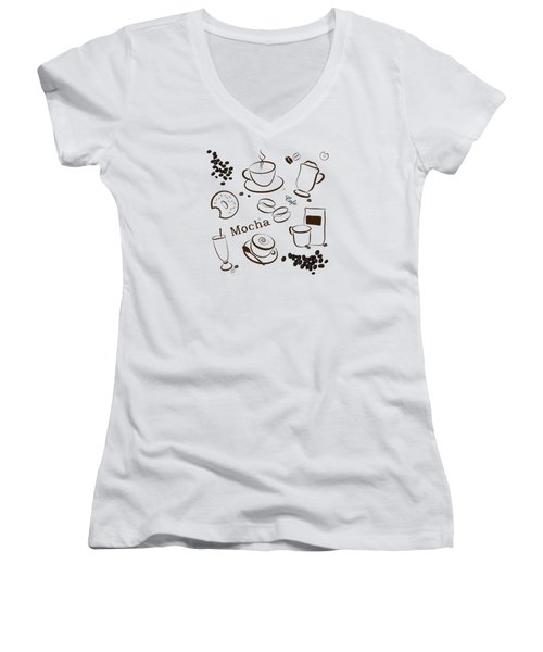 Coffee/cafe Pattern Background Women's V-Neck T-Shirt