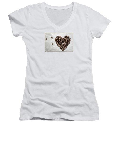 Coffee Heart Women's V-Neck T-Shirt