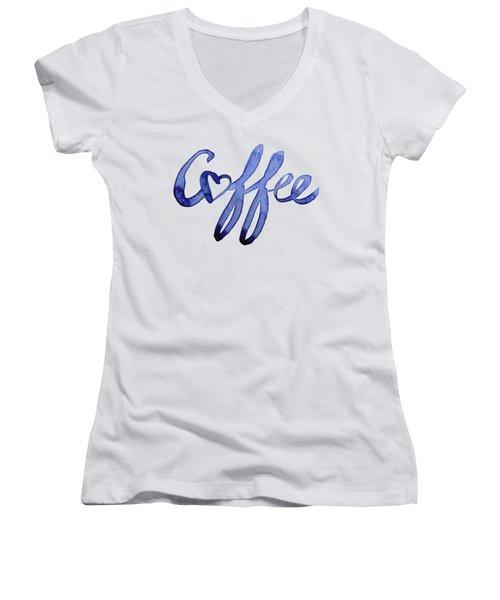 Coffee Love Women's V-Neck T-Shirt (Junior Cut) by Olga Shvartsur