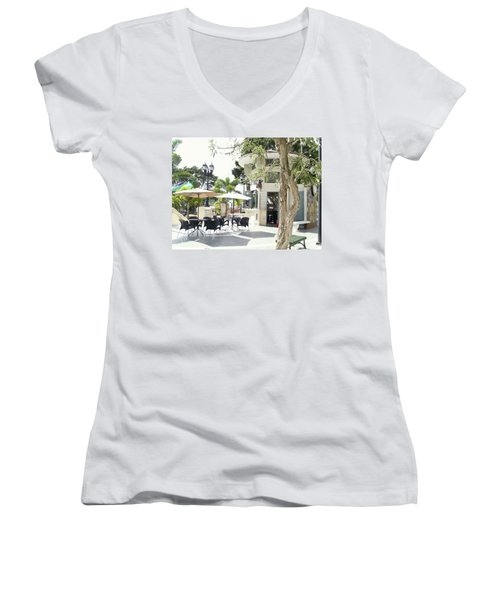 Coffee Lover's Expresso Bar At The Moll Boscana Town Square Women's V-Neck (Athletic Fit)