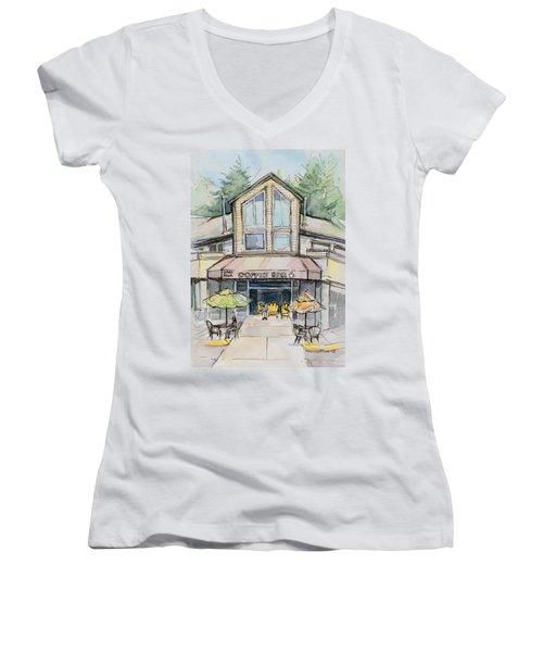 Coffee Shop Watercolor Sketch Women's V-Neck T-Shirt (Junior Cut) by Olga Shvartsur